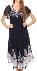 Sakkas Batik Hindi Cap Sleeve Caftan Dress / Cover Up#color_Navy