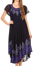 Sakkas Batik Hindi Cap Sleeve Caftan Dress / Cover Up#color_Navy / Purple