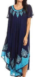 Sakkas Batik Hindi Cap Sleeve Caftan Dress / Cover Up#color_Navy / Turquoise