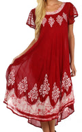 Sakkas Batik Hindi Cap Sleeve Caftan Dress / Cover Up#color_Red / White