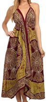 Sakkas Batik Medallion Handkerchief Hem Adjustable Dress