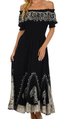 Sakkas Elizabeth Batik Embroidered Peasant Dress