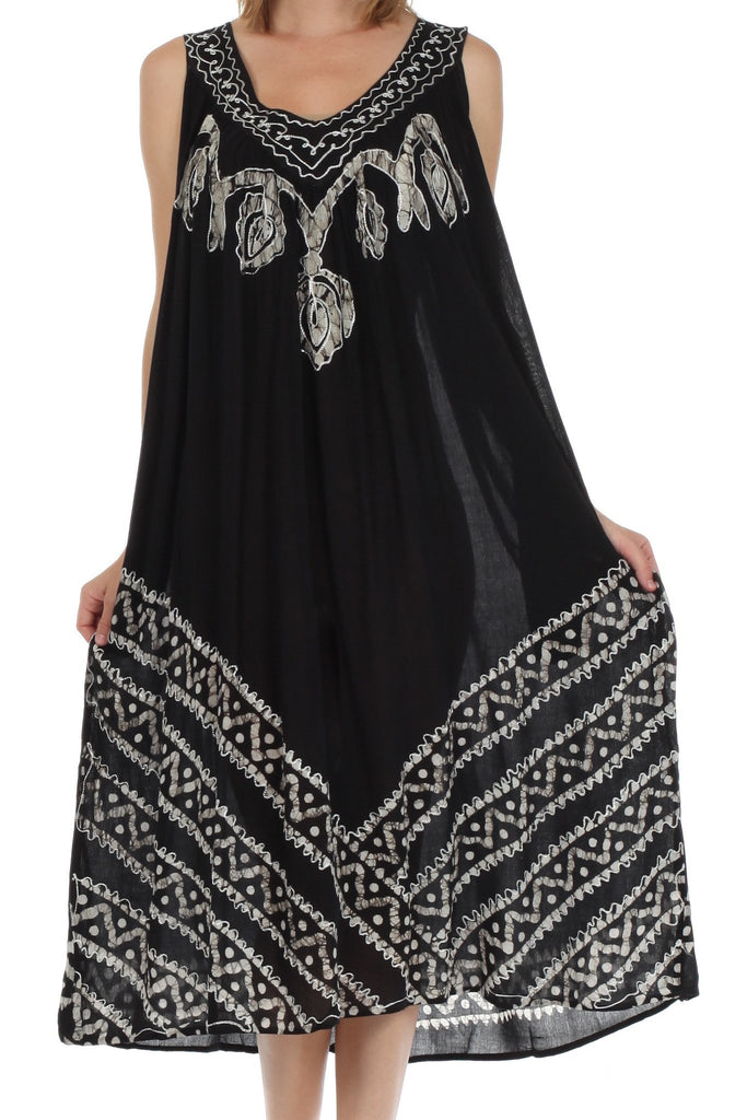 Sakkas Batik Stripe Sleeveless Caftan Dress