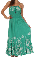 Sakkas Batik Embroidered Empire Waist Dress