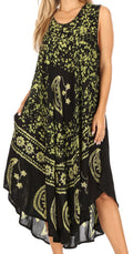 Sakkas Moon and Stars Batik Caftan Tank Dress / Cover Up#color_Black / Green