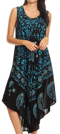 Sakkas Moon and Stars Batik Caftan Tank Dress / Cover Up#color_Black / Turquoise