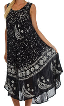 Sakkas Moon and Stars Batik Caftan Tank Dress / Cover Up