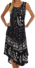 Sakkas Moon and Stars Batik Caftan Tank Dress / Cover Up#color_Black / White