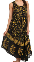 Sakkas Moon and Stars Batik Caftan Tank Dress / Cover Up#color_Black / Yellow