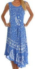 Sakkas Moon and Stars Batik Caftan Tank Dress / Cover Up#color_Blue / White