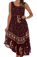 Sakkas Moon and Stars Batik Caftan Tank Dress / Cover Up#color_Brown