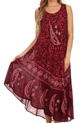 Sakkas Moon and Stars Batik Caftan Tank Dress / Cover Up#color_Burgandy / Pink
