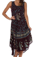 Sakkas Moon and Stars Batik Caftan Tank Dress / Cover Up#color_Eggplant / Turquoise