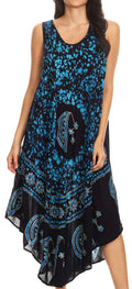 Sakkas Moon and Stars Batik Caftan Tank Dress / Cover Up#color_Navy / Blue
