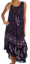 Sakkas Moon and Stars Batik Caftan Tank Dress / Cover Up#color_Navy / Pink