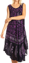 Sakkas Moon and Stars Batik Caftan Tank Dress / Cover Up#color_Navy / Purple