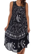 Sakkas Moon and Stars Batik Caftan Tank Dress / Cover Up#color_Navy / White