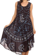 Sakkas Moon and Stars Batik Caftan Tank Dress / Cover Up#color_Powder Blue