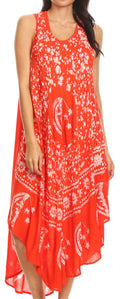 Sakkas Moon and Stars Batik Caftan Tank Dress / Cover Up#color_Poppy Red