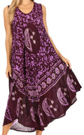 Sakkas Moon and Stars Batik Caftan Tank Dress / Cover Up#color_Purple
