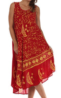 Sakkas Moon and Stars Batik Caftan Tank Dress / Cover Up#color_Red / Gold