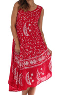 Sakkas Moon and Stars Batik Caftan Tank Dress / Cover Up#color_Red / White