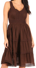 Sakkas Presta Roman Sleeveless Lined Tank Top Dress With Emrboidery Lace Design#color_Brown
