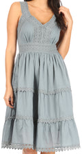 Sakkas Presta Roman Sleeveless Lined Tank Top Dress With Emrboidery Lace Design#color_Grey