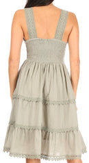 Sakkas Presta Roman Sleeveless Lined Tank Top Dress With Emrboidery Lace Design
