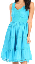 Sakkas Presta Roman Sleeveless Lined Tank Top Dress With Emrboidery Lace Design#color_Turquoise