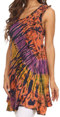 Sakkas Molika Mid Length Ruffled Tie Dye Tank Dress