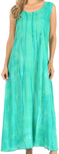Sakkas Raquel Women's Casual Sleeveless Maxi Summer Caftan Column Dress Tie-Dye#color_SeaGreen
