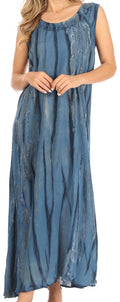 Sakkas Raquel Women's Casual Sleeveless Maxi Summer Caftan Column Dress Tie-Dye#color_Black