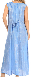 Sakkas Raquel Women's Casual Sleeveless Maxi Summer Caftan Column Dress Tie-Dye