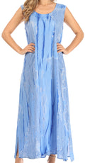 Sakkas Raquel Women's Casual Sleeveless Maxi Summer Caftan Column Dress Tie-Dye#color_Blue