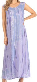 Sakkas Raquel Women's Casual Sleeveless Maxi Summer Caftan Column Dress Tie-Dye#color_Light Blue