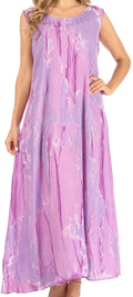 Sakkas Raquel Women's Casual Sleeveless Maxi Summer Caftan Column Dress Tie-Dye#color_Purple