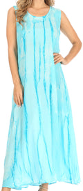 Sakkas Raquel Women's Casual Sleeveless Maxi Summer Caftan Column Dress Tie-Dye#color_Turquoise