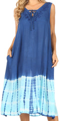 Sakkas Ilaria Women's Midi Sleeveless Casual Loose Flare Print Dress Caftan Pocket#color_TD42-802-BlueTurq