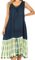 Sakkas Ilaria Women's Midi Sleeveless Casual Loose Flare Print Dress Caftan Pocket#color_TD42-802-NavyGreen