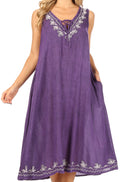 Sakkas Ilaria Women's Midi Sleeveless Casual Loose Flare Print Dress Caftan Pocket#color_TD42-803-Purple