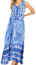Sakkas Leonor Women's Maxi Sleeveless Tank Long Print Dress with Pockets and Ties#color_TD52-811-Blue
