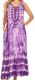 Sakkas Leonor Women's Maxi Sleeveless Tank Long Print Dress with Pockets and Ties#color_TD52-811-Purple