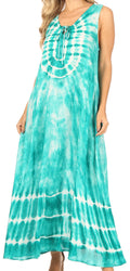 Sakkas Leonor Women's Maxi Sleeveless Tank Long Print Dress with Pockets and Ties#color_TD52-811-SeaGreen