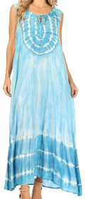 Sakkas Leonor Women's Maxi Sleeveless Tank Long Print Dress with Pockets and Ties#color_TD52-811-Turq
