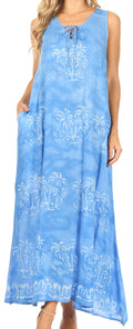 Sakkas Leonor Women's Maxi Sleeveless Tank Long Print Dress with Pockets and Ties#color_TD52-812-Blue