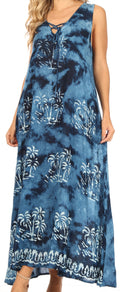 Sakkas Leonor Women's Maxi Sleeveless Tank Long Print Dress with Pockets and Ties#color_TD52-812-Navy