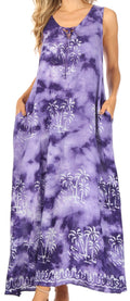 Sakkas Leonor Women's Maxi Sleeveless Tank Long Print Dress with Pockets and Ties#color_TD52-812-Purple