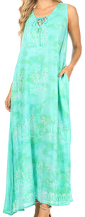 Sakkas Leonor Women's Maxi Sleeveless Tank Long Print Dress with Pockets and Ties#color_TD52-812-Seagreen