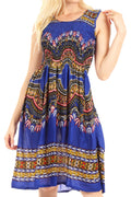 Sakkas Darcia Women's Casual Summer Cocktail Elastic Stretchy Dashiki Print Dress#color_Royalblue